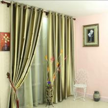 Smooth Blackout Satin and Fiber Blend Print Living Room Curtains