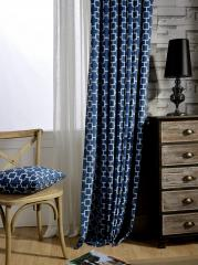 Solid Blue Plaid Print Poly and Cotton Blend Living Room Curtain