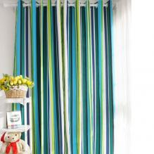 Special Design Striped Blue Cotton Ordinary Shading Curtains