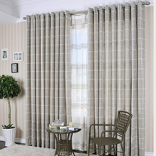 Special Price Country Grey Plaid Cotton Eco-friendly Curtains