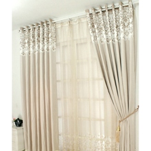 Special Price Floral Printed Camel Striped Blackout Curtains