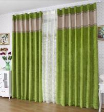 Spring Artificial Bud Green Flocking Ordinary Blackout Curtains