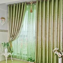 Spring Leaf and Floral Printed Polyester Curtains in Green
