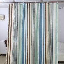 Striped High-end Light Blue Shower Curtain