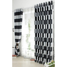 Stylish Sound Absorption Poly/Artificial Fiber Black and White Plaid Curtains (Two Panels)