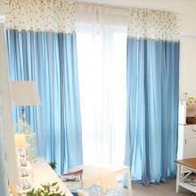 Sweet Blue Polka Dots Cotton Energy Saving Curtains