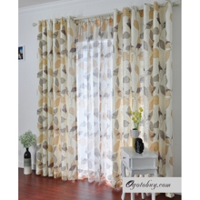 Sweet Daffodil Leaf Printed Curtains (Two Panels)