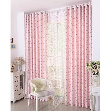 Sweet Discount Heart-shaped Printing Blackout Curtains in Ivory