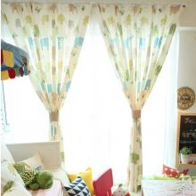 Sweet Kid Elephant Printing Cotton White Curtains