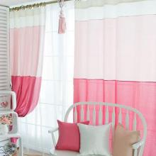 Sweet Pink Cotton and Fiber Bedroom Curtains for Girls (Two Panels)
