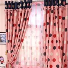 Sweet Polka Dot Printing Polyester Pink Lace Curtains