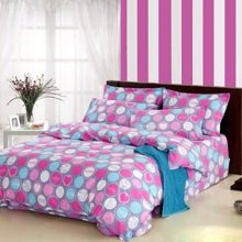 Sweet Polka Dots and Heart Shaped Pink 4-piece Duvet Cover Set