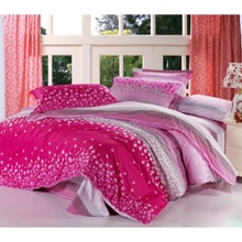 Sweet Striped Pink Floral 4-piece Duvet Cover Set