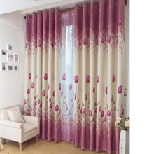 Sweet and Warm Tulip Pattern Polyester Pink Curtains