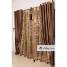 Traditional Chocolate Sound Energy Saving Blend Fabric Curtains