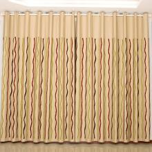 Tulle and Poly Geometrical Water Wave Printed Curtains (Two Panels)