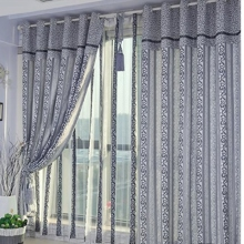 Vine Patterns Embroidered Cotton Blackout Curtains in Blue (Two Panels)