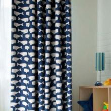 Whale Blue and White Polyester Curtains for Kids (Two Panels)