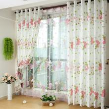 White Curtains with Pink Flower Patterns and Green Leafs for Girls (Two Panels)