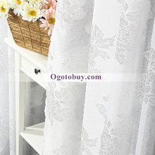 White Gauze Polyester Decorated Bedroom Sheer Curtains(Two Panels)