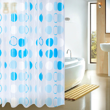 White and Blue Circles Contemporary Shower Curtains