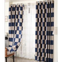 White and Blue Plaid Check Modern Polyester Blackout Sound-proof Curtains (Two Panels)