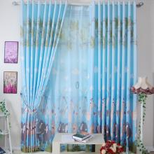 Wild Lion Printed Blue Curtains Made of Poly and Yarn