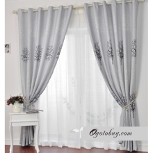 Winter Style Grey Energy Saving Curtains with Tree Patters (Two Panels)