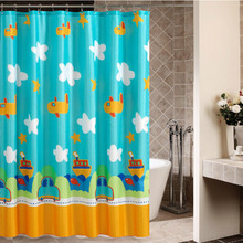 Kids Favorite Blue Airplane and Car Shower Curtain