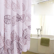 Clearance Leaf Purple Shower Curtain in Bathroom Usage