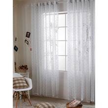 Stylish White Sheer Curtains with Blue Embroidery Heart Pattern