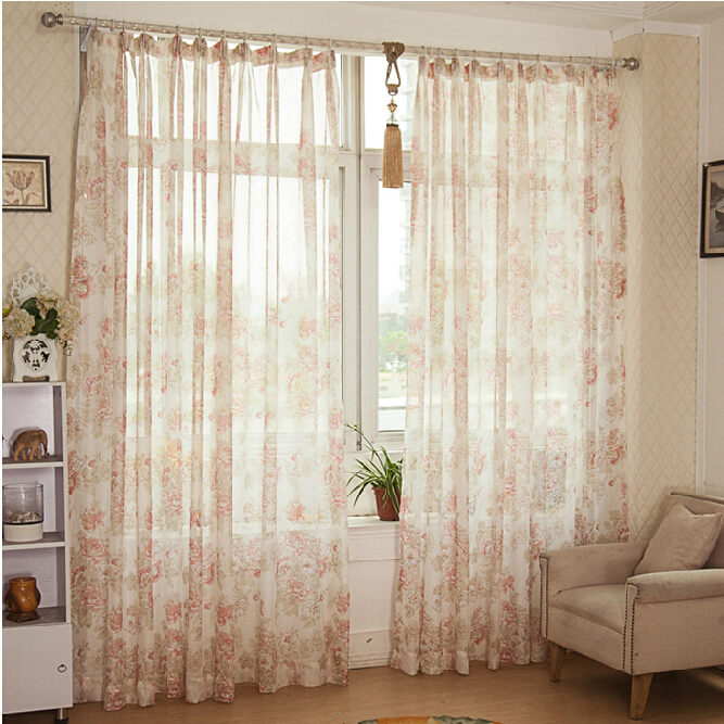Discount Country Pink Sheer Curtains of Floral Patterns , Buy Pink ...
