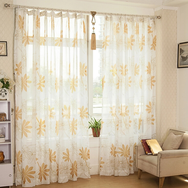Elegant Loading Zoom. Affordable Floral Pattern Living Room Suitable Sheer Curtains  ...