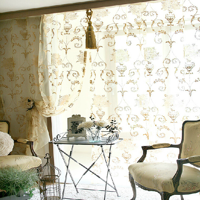 Contemporary Floral Embroidery Home Sheer Curtains
