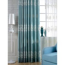 Affordable Blue Cotton Good Quality and Design Bedroom Curtains