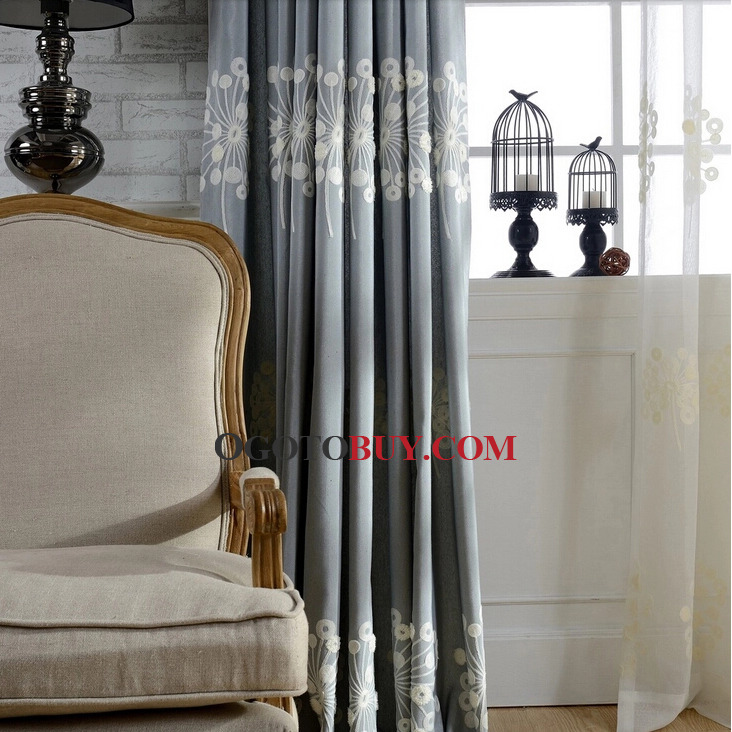 Country Gray Dandelion Custom Curtains