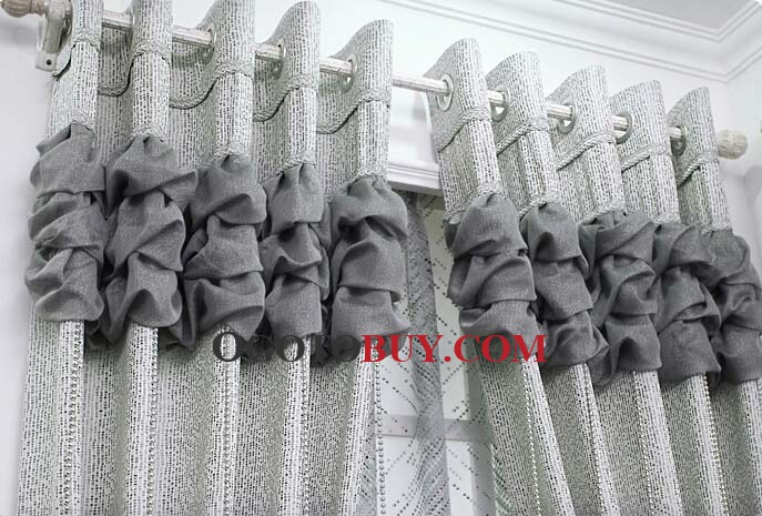 Gray Stylish Home Style Pleated Curtains for Rooms