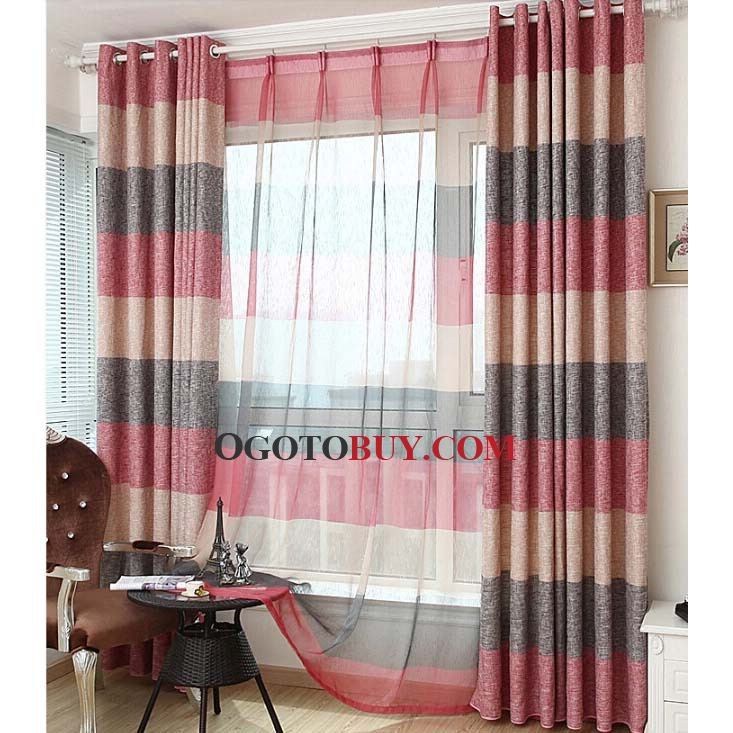 Striped Blended Material New Arrival Elegant Curtains