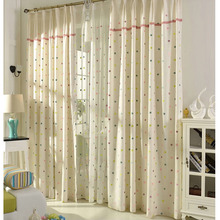 Cotton and Linen Embroidery Country Style Panel Curtains