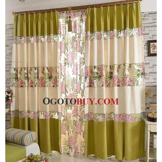 Green Country Floral Pattern Trendy Curtains
