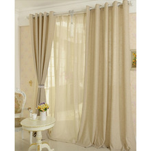 Classic Linen Privacy Solid Simple Wide Window Curtains
