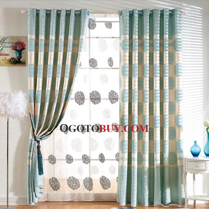 Blue Natural Elegant Home Curtains