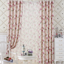 Pink Flower and Green Leaf Cheap Country Curtains