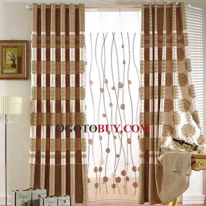 Extra Wide Window Curtains in Coffee Color of Patterns , Buy ...
