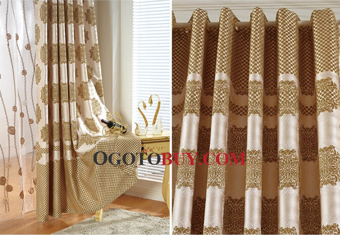 extra wide window curtains in coffee color of patterns