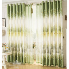 Green Tree Patterns Blackout Retro Window Curtains