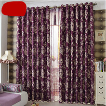 Beautiful Window Curtains in Purple Color with Floral Pattern