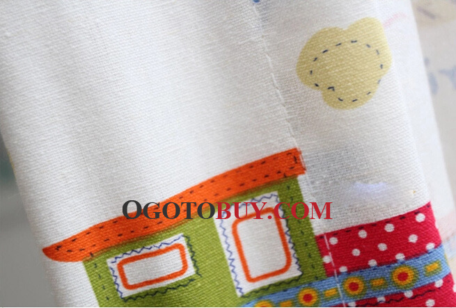 Cartoon Cotton and Linen Window Curtains of Cute Trains