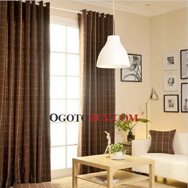 Living Room Curtains In Plaid Coffee Color Loading Zoom