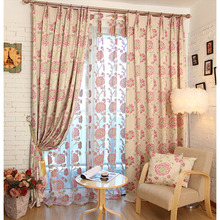 Pink Floral Pattern Country Modern Design Curtains